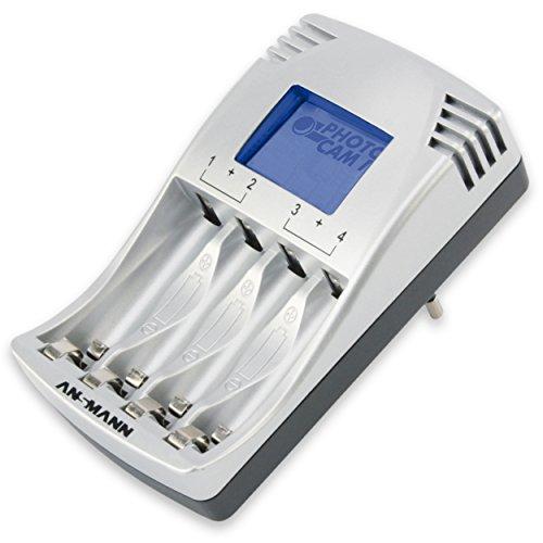 ANSMANN PhotoCam IV Steckerladegerät für bis zu 4 NiMH Akkus / Akkuladegerät für 1 2V Micro AAA & Mignon AA / Mit LCD-Anzeige Überladeschutz & Impuls-Erhaltungsladung