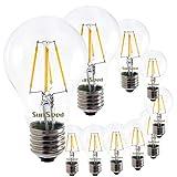 SunSeed 10x Lampadina E27 Filamento LED 5W Goccia A60 550 Lm Luce Calda 2700K
