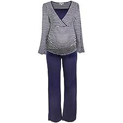 Herzmutter Pijamas de enfermería a Rayas, Pijama de Mujer, Material Blando, Manga Larga, Rayas maritimas, Blanco-Azul-Gris (2100) (M, Blanco/Azul)