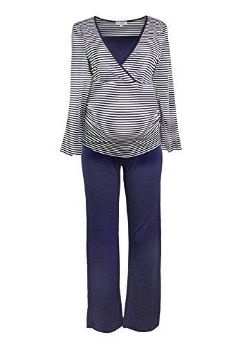 Herzmutter Gestreifter Stillpyjama-Schlafanzug-Umstandspyjama für Damen, Weiches-Softes Material, Lang-Langarm, Maritim-Streifen-Muster, Weiß-Blau-Grau (2100) (L, Weiß/Blau)