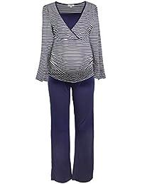 Gestreifter Stillpyjama-Schlafanzug-Umstandspyjama für Damen, Leichte Nachtwäsche für den Sommer, Langarm in Maritim-Design, in Weiß, Blau, Grau, HERZMUTTER (2100)