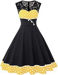 7be9681dc4a MisShow Damen Elegant 1950er Rockabilly Kleid Spitzenkleider Polka Dots Retro  Vintage Petticoat Kleider Faltenrock