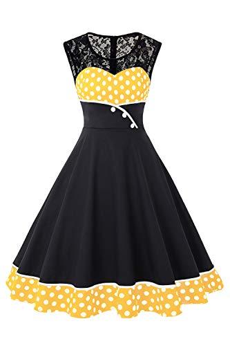 MisShow Damen elegant 50er Jahre Kleidung Vintage Kleid Ärmellos Spitzen Kleider Festliches Karneval Kleid Gelb XL