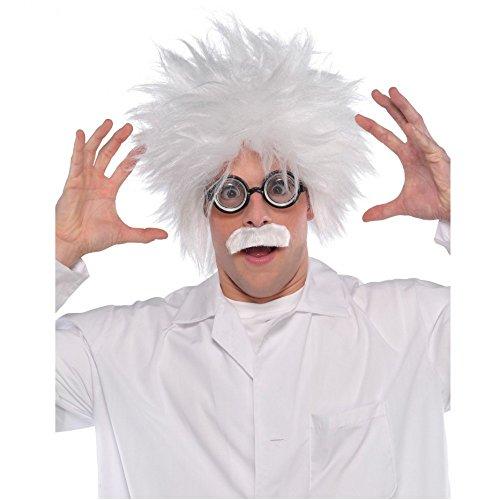 Krause & Sohn Einstein Perücke mit Bart weiß Fasching Spaßkostüm lustiger Professor (Verrückter Professor Kostüm)