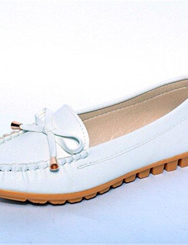 XAH@ Chaussures Femme-Extérieure / Bureau & Travail / Habillé / Décontracté-Noir / Rose / Blanc-Talon Plat-Ballerine-Plates-PU white-us8 / eu39 / uk6 / cn39