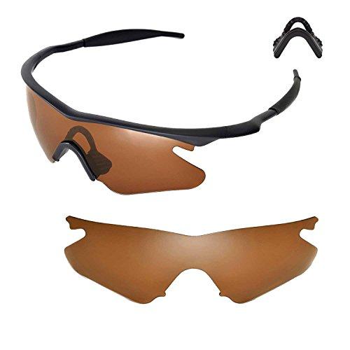 Walleva Ersatzlinsen oder Linsen mit Nasenpolster für Oakley M Frame Heater Sonnenbrille - Mehrfache Optionen (Braun Polarisierte Linsen + Nasenpolster)
