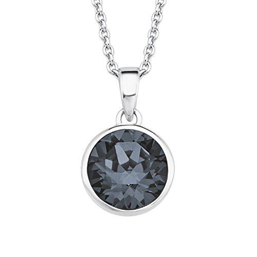 s.Oliver Damen-Kette mit Anhänger verstellbar 925 Silber rhodiniert Kristall schwarz 45 cm - 2018679