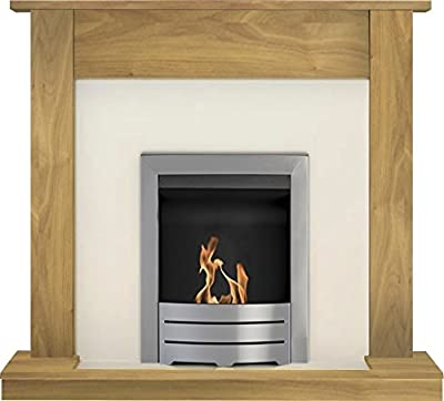 Adam Buxton Fireplace Suite in Oak with Colorado Bio Ethanol Fire in Brushed Steel, 47 Inch