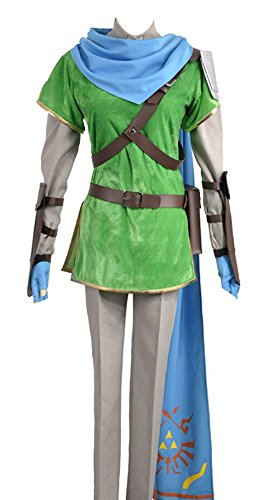 Kostüm Warriors Hyrule - Video Games The Legend of Zelda: Hyrule Warriors (Zelda Muso) Link Cosplay Hat Schal und Kostüm Custom Made Full Set, Collegejacke, Grün