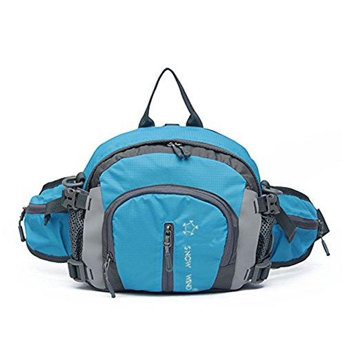 Outdoor peak Unisex Nylon wasserdicht Gürteltasche Multifunktions-Tasche Kameratasche Reiserucksack Kettle Paket Tagetasche mit Schultergurt Halstuch Fahrrad Bergsteigen(Blau1)