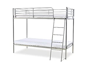 Humza Amani Torquay Metal Bunk Bed Frame - Single, Silver