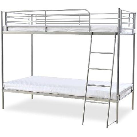 Humza Amani Torquay litera con marco de Metal economía 2 gama de precios, para cama individual, 91,44 cm, 160 x 198 x 128 cm, plateado
