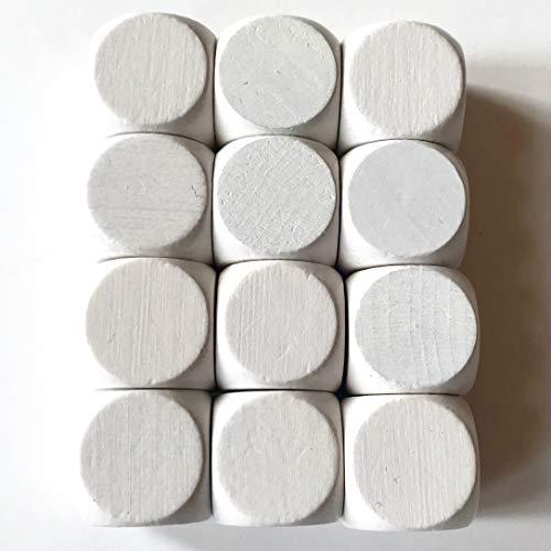 Spieltz Blanko Würfel aus Holz für Brettspiele, weiß (12 Stück)