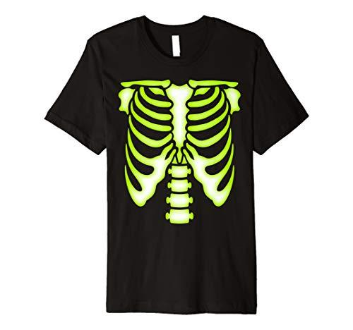 Skelett grün brustkorbes T-Shirt–Knochen Halloween-Kostüm