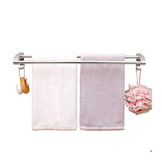 ASkyl Strong Sucker Double Rod Aluminum Towel Holder Rack for Bathroom (Silver)-No Drill Needed