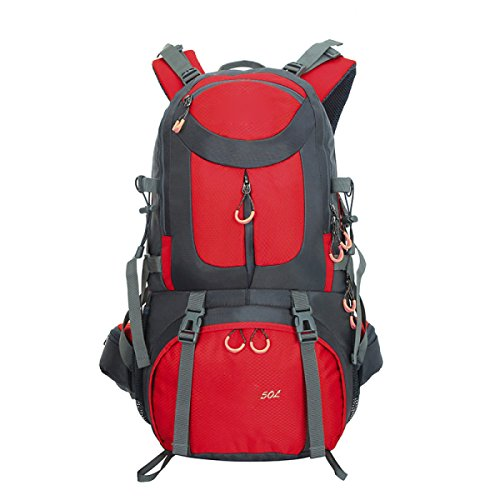 Wasser-resistent Outdoor Sport Reisen Wandern Rucksäcke Trekking Rucksäcke,Purple Red