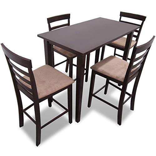 vidaXL Holz Essgruppe Sitzgruppe Bartisch Stehtisch Esstisch +4 Barhocker Stuhl -
