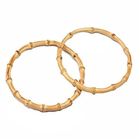 1 Paar Taschengriffe Bambus - rund natur hell - 2 Stück 3502 Henkel Bügel natur