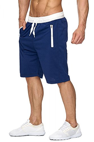 Herren Sweat Shorts Jogging Pant Sport Bermuda H1927,Blau,XXL (Herren-stretch-cargo-shorts)