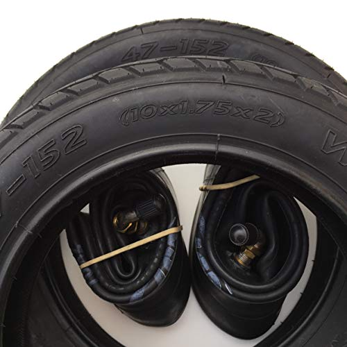 2x Mitas 10 Zoll Reifen 10x1.75x2 Zoll   47-152 + 90° AV Schlauch (abgewinkeltes Ventil) Kinderwagen, Buggy, Roller, Dreirad