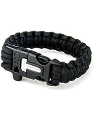 Ohuhu® Bracelet paracorde survie Camping Sport Randonnée Noir