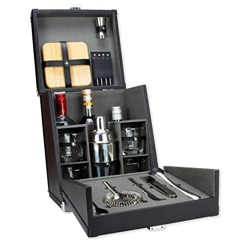 Bar-tool (Atterstone 17-teiliges Premium Travel Cocktail Set Portable Bar Ware Box Kit für Barkeeper/Mixologisten, Komplettes Bar Tool Zubehör Kit für Hosting Servieren und Unterhalten)