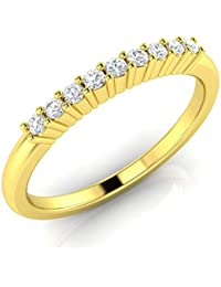 Silvernshine Real 14K Solid Yellow Gold Finish 925 Silver Sim.Diamond Engagement Band Ring