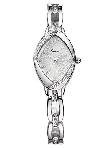 Alienwork Armbanduhr Damen Uhr Edelstahl Armband Metallarmband Metallband Silber Quarz Damenuhr Mädchen Strass Kinder Kinderuhr Glitzer