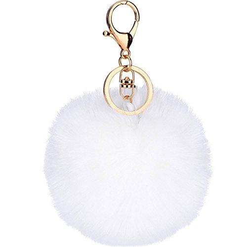 Pom Pom Keychain Weiße (Pom Pom Schlüsselanhänger Flauschige Schlüsselanhänger Handy Charm Schlüsselanhänger Bälle Tasche Anhänger Schlüsselanhänger ( Weiß))