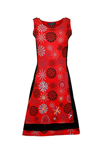 Robe sans manches d'été des femmes avec des fleurs motif imprimé et broderie red