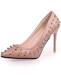 Jqdyl Zapatos nuevos de Las Mujeres Acentuados Remaches Brillantes Lentejuelas Zapatos de Tacones Altos,39