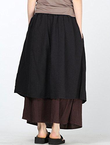 MatchLife Femme Jupe Boheme Casual En Coton Lin Taille Elastique Avec Corde de Serrage Noir-Marron
