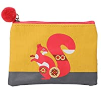 Purple Possum® Coin Purse Squirrel Hare Scandi Small Pouch Ladies Girls Yellow Orange Mint Green Pom Pom Matt Finish Oilcloth Style (Squirrel)