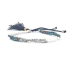 Handmade Ibiza Boheme Freundschafts Perlen Armband Quaste Silber Blau