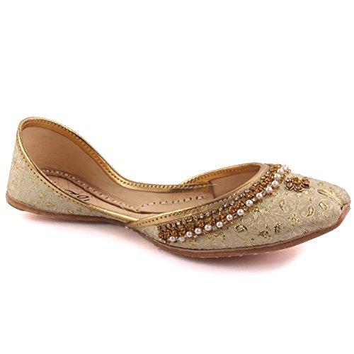 Unze Neue Kinder Traditionelle 'Cala' Handgefertigte verschönert Leder flache Khussa Pumpe Hausschuhe Kinder Schuhe - LS-629 I Gold