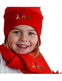 Norwegermütze mit Schal in rot, pink oder marine, 2-teiliges Set, Geschenkset Winterhaube mit Winterschal, Haube