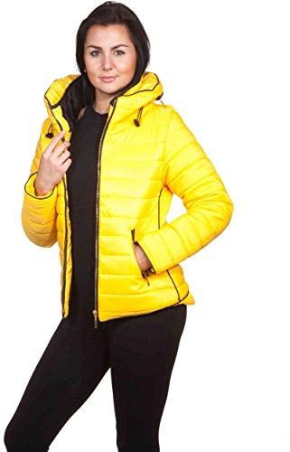 Loomiloo - Giacca invernale da donna con cappuccio, trapuntata, collo alto,foderata, collezione inverno 2016 Gelb