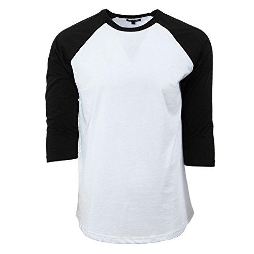 Baseball T-Shirt (Weiß/Schwarz, M) -