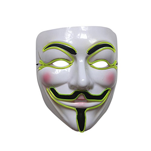 ten V für Vendetta Guy Fawkes LED Anonyme Rave Maske EL Wire (Grünen Mann Masken)