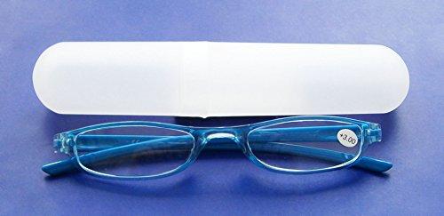 LESEBRILLE +3.00 Diop. mit ETUI blau Lesehilfe Sehhilfe Brille Kunststoff 05