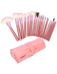 Uniqstore Lot de 22 pinceaux de maquillage professionnels avec trousse Rose