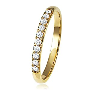 Diamond Line Damen – Ring 375er Gold 10 Diamanten ca. 0,20 ct., Gold