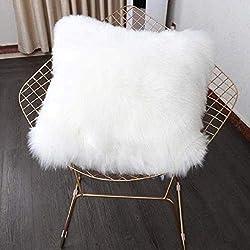 Funda de cojín de sofá, Funda Almohada de Suave Piel sintética de Lana, Cojín Cubierta Tiro Funda de Almohada Sofá Decoración 45cm x 45cm (sin Almohada) (Blanco)