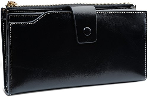 BIG SALE-30% OFF-Yaluxe Women's Large Capacity Luxury Wax Genuine Leather Wallet Purse With Zipper Pocket (Gift Box)