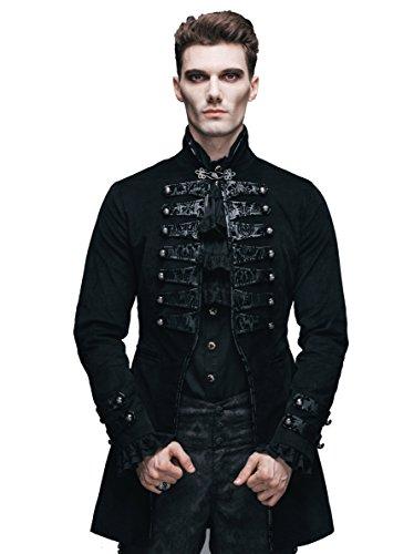 Gothic Vintage Männer Jacken Steampunk Mäntel Victorian Herbst & Winter Schwarz Oberbekleidung Für Herren (XL)