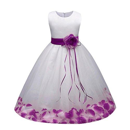 Sannysis Mädchen Kinder Tüll Blume Kleider Blumenmädchenkleider Hochzeitskleid Brautjungfern Kleid Prinzessin Hochzeit Abendkleid Langes Kleid Festzug Cocktailkleid Ballkleid (130, Lila)