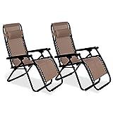 BRAVICH Set of 2 Zero Gravity Textoline Reclining Garden Chair Camping Outdoor Beach