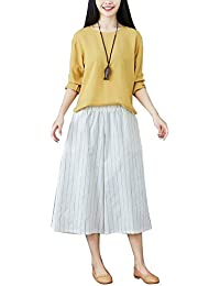3f12f50f84ce Femme Pantalons Palazzo Rayures Large Pantalon Elégante Vintage Jambe 7 8 Fashion  Large Taille Festive