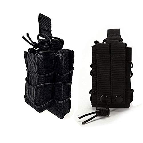 FIRECLUB Tactical Molle Magazine Pouch Open-Top Single Rifle Pistol Mag Pouch AR/M4/M16 Cartridge Clip Pouch Hunting Bag (Black) -