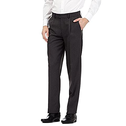The Collection Mens Grey Pleated Front Trousers 38S